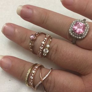 7pc Rose Gold Vermeil Swarovski Dainty Rings